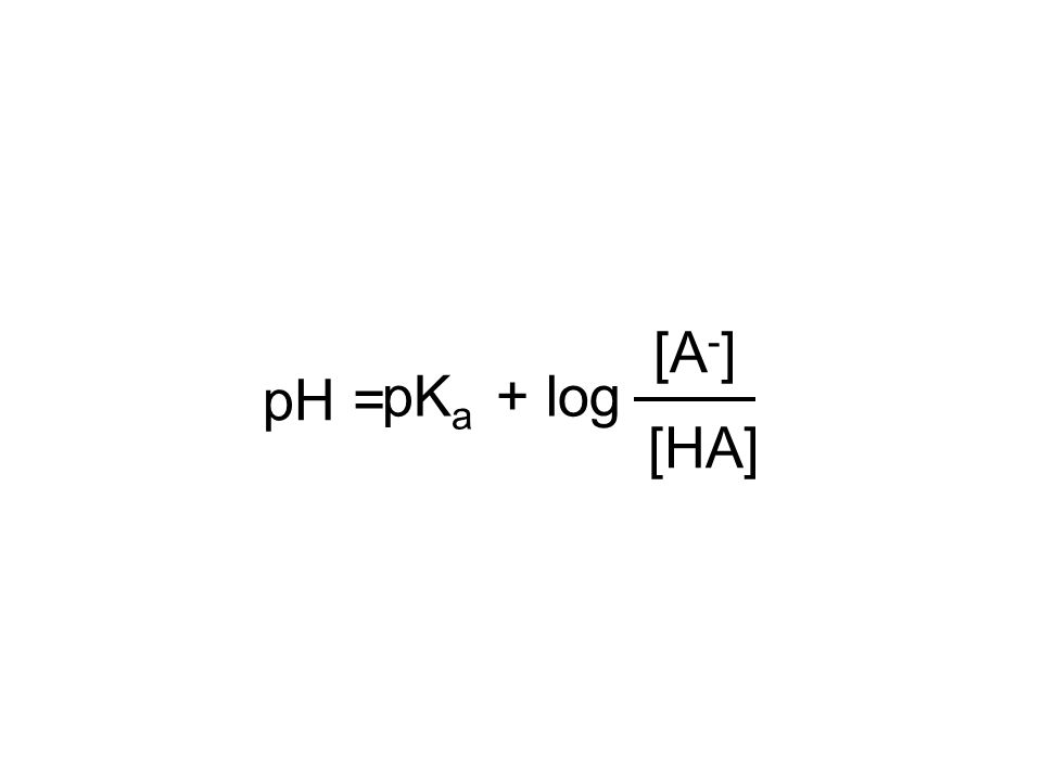 pH = [HA] [A-] pKa + log